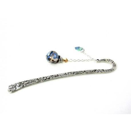Marque-pages perle bleue et beige coeur bleu et vert