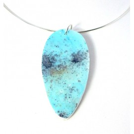 Collier ras du cou mineral bleu