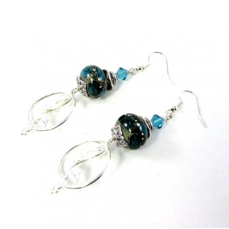 Boucles d'oreille perles turquoises minérales