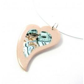 Collier coeur cuivre clair idée cadeau