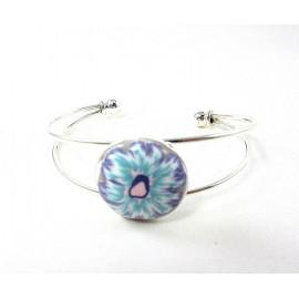 Bracelet cabochon fleur bleue