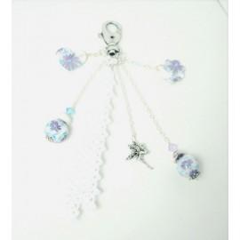 Bijou de sac fleur argent et mauve