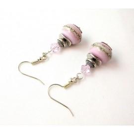 Boucles d'oreille perles de verre roses
