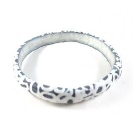 Bracelet bleu marine et blanc en pâte polymère
