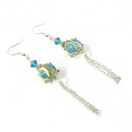 Longues boucles d'oreilles perles de verre bleues et jaunes