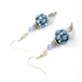Boucles d'oreilles pois bleus verre filé au chalumeau