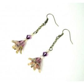 Boucles d'oreille clochettes violettes