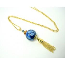 Pendentif grosse perle marbre bleu et pompon