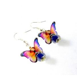 Boucles d'oreilles papillons et perle bleue