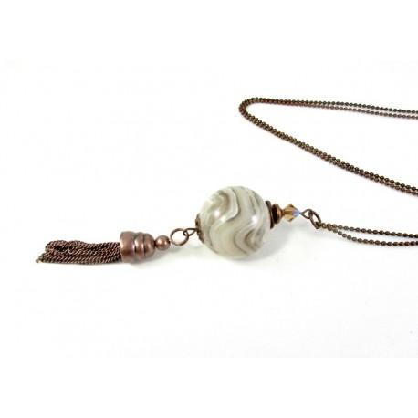 Sautoir perle boule onyx blanc et pompon cuivré