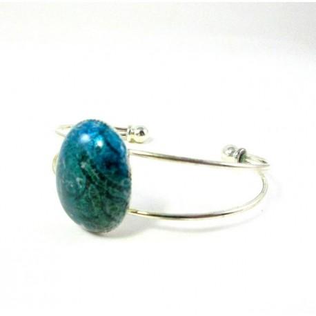 Bracelet cabochon vert et bleu imitation émail