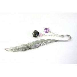 Marque-pages plume et perle violette