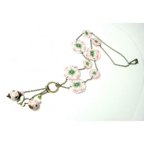 Sautoir fleurs roses et vertes