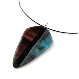 Pendentif imitation bois et pierre turquoise