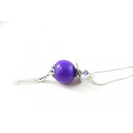 Sautoir perle boule violette et pompon argenté