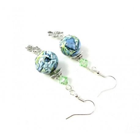 Boucles d'oreilles anis et bleues