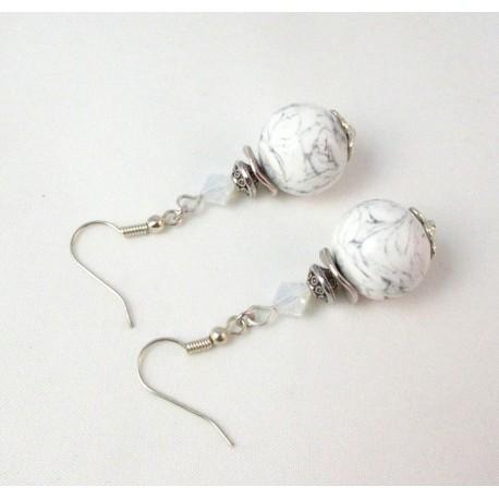 Boucles d'oreille imitation marbre