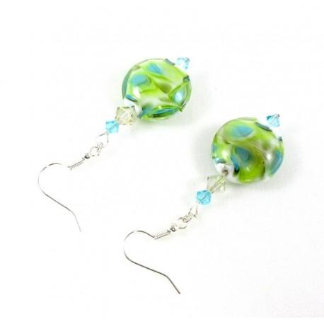 Boucles d'oreille anis et bleues