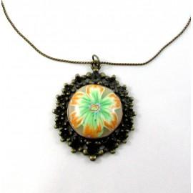 Pendentif fleur orange et verte