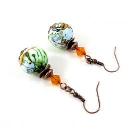 Boucles d'oreilles vertes oranges et bleues