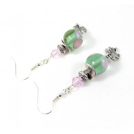Boucles d'oreilles vertes à pois roses