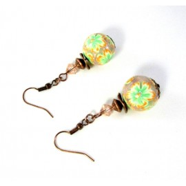 Boucles d'oreilles fleurs vertes et oranges