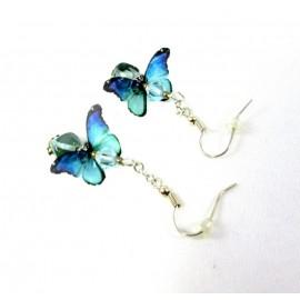Boucles d'oreilles papillons bleus et verts