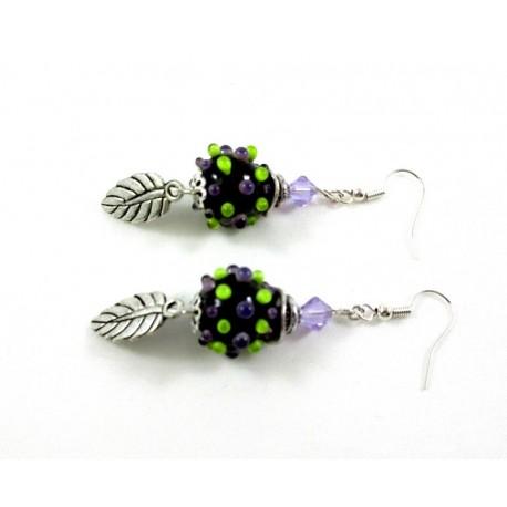 Boucles d'oreilles perles de verres picots verts et violets