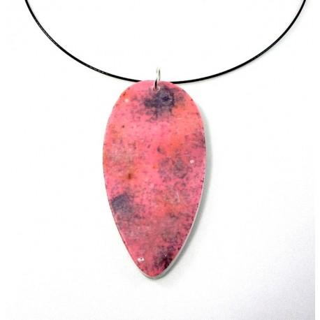 Collier pierre rose en pâte polymère