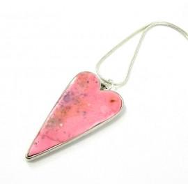 Collier coeur rose