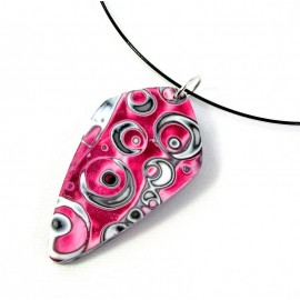 Collier ras du cou rouge, motif ronds