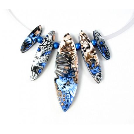 collier moderne bleu marine et beige