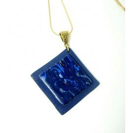 Pendentif losange imitation lapis lazuli